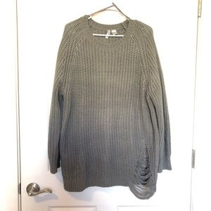 Grey Divided Chunky Knit Sweater Size Large